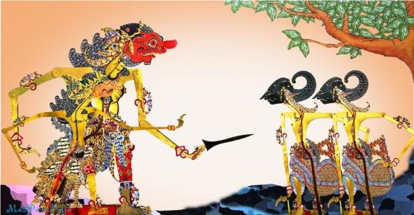 ....Burisrawa dan Rukmarata mbegal Nakula dan Sadewa, setelah Burisrawa telah berhasil mendapatkan pusaka andalan....