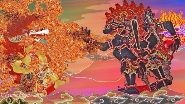 Maharaja Balya lan sang patih | kasalad ing dahana upama | binalang sèwu srêngenge | gya mugswa kalihipun | wangsul dadya jawata malih | ya ta sang narpakênya | ratuning lêlêmbut | sarwi marêk lan karuna |